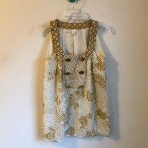 Anthropologie • Lauren Moffat tan floral silk top